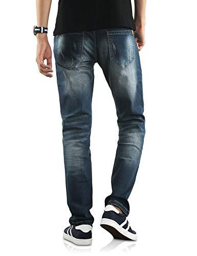 Morbido Casual Dritta Da Denim Pantaloni Confortevole Jeans Con Gamba A Blu Lunghi E Slim Dunkelblau Huixin Skinny Uomo In Cx7HTHq