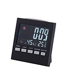 Shalleen LCD Digital Thermometer Hygrometer Humidity Clock Weather Meter Indoor Outdoor