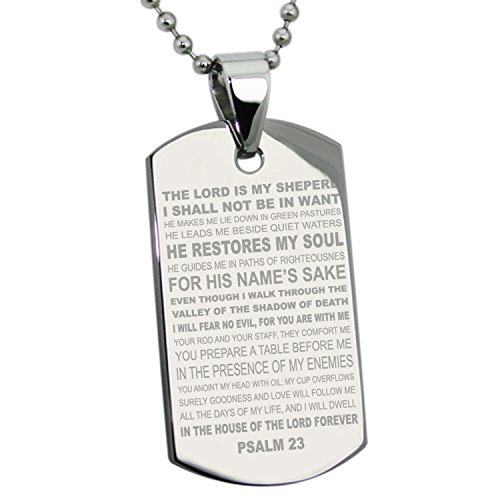 Stainless Steel Psalms 23 Bible Verse Dog Tag
