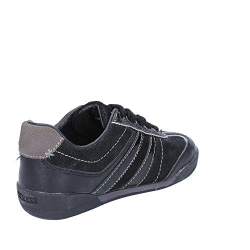 GEOX Sneakers Bambino 30 EU Nero Pelle Tessuto Camoscio