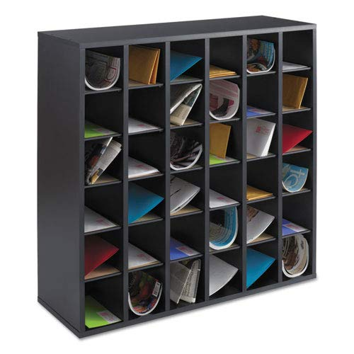 Mail Compartment Sorter 36 - Wood Mail Sorter with Adjustable Dividers, Stackable, 36 Compartments, Black, Sold as 1 Each