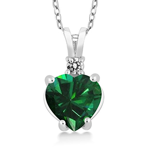 Carats 1.50 Green - Gem Stone King 14K White Gold Heart Pendant with 1.5 Ct Green Simulated Emerald White Diamond