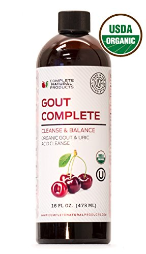 Gout Complete 16oz - Natural & Organic Liquid Gout Treatment, Uric Acid Flush & Remedy Support Medicine (W/Tart Cherry)