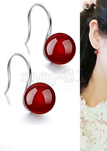 FidgetKute Fashion Women's 10MM Red Jade Sterling Silver Hook Dangle Earrings ()