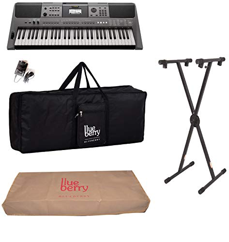 Yamaha PSR-I500 Digital Keyboard (61 Keys) With Blueberry Cover Bag,dust cover And Keyboard Stand