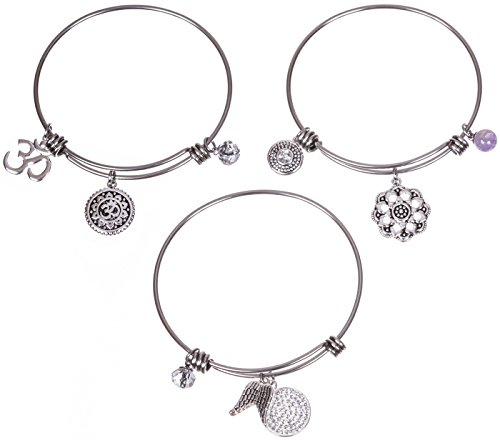 Charm Silver Bracelet Set (Silver Plated Stainless Steel Expandable Charm Bracelet Bangle - Spiritual Om - Set of 3)