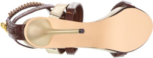 Unze - Zapatos de vestir de satén para mujer Dorado