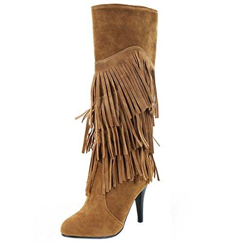 Botas Invierno de Zapatos Tacon Brown Clasico Aguja Zanpa Largas Flecos Mujer Zq7wBpY
