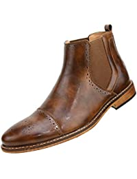 Pablo - Men's Casual Boots, Dress Boots for Men - Manmade Leather, Cap Toe Mens Boots - Chelsea Boots for Men with Perforated Details, Fashion Boots