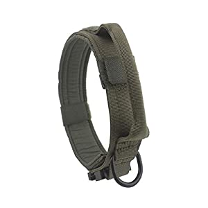 Yunlep Adjustable Tactical Dog Collar Military Nylon Heavy Duty Metal Buckle with Control Handle for Dog Training,1.5″ Width (L, Ranger Green)