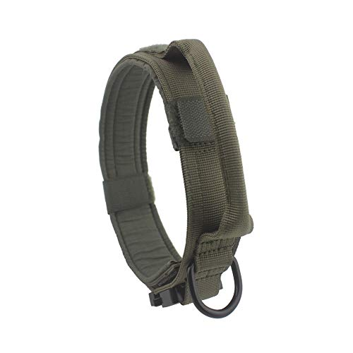 Yunlep Adjustable Tactical Dog Collar Military Nylon Heavy Duty Metal Buckle with Control Handle for Dog Training,1.5