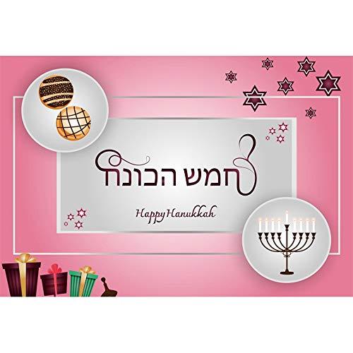 (CSFOTO 6x4ft Happy Hanukkah Backdrop Jewish Chanukah Background for Photography Burning Candles Menorah Stars Dessert Gifts Jewish Traditional Festival Celebration Photo Polyester Wallpaper)