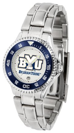 SunTime Brigham Young (BYU) Cougars Competitor Ladies Watch with Steel Band