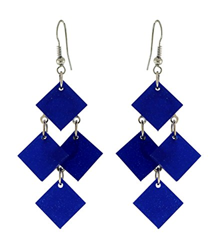 Silver-Tone Drop Dangle Earrings With Royal Blue Colored, Diamond Shaped Accents TME1332B