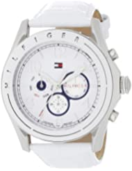 Tommy Hilfiger Womens 1781052 Sport Mother-Of-Pearl Dial White Croco Embossed Strap Subdial Watch