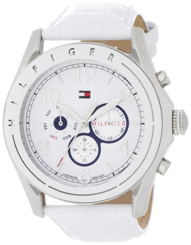 Croco Embossed Strap Watch (Tommy Hilfiger Women's 1781052 Sport Mother-Of-Pearl Dial White Croco Embossed Strap Subdial Watch)