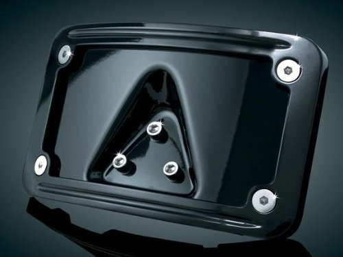 Kuryakyn Gloss Black Curved Laydown License Plate Mount with Frame 3148 (License Curved Plate Frame Kuryakyn)