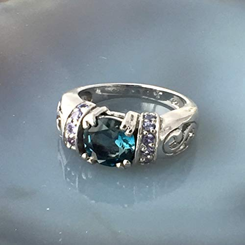 Sz 7.5, Genuine LONDON BLUE TOPAZ and TANZANITE (Natural) Gemstones, 14K White Gold Vermeil and 925 Sterling Silver, Celebration Ring Jewelry. (White Tanzanite Ring Gold Jewelry)