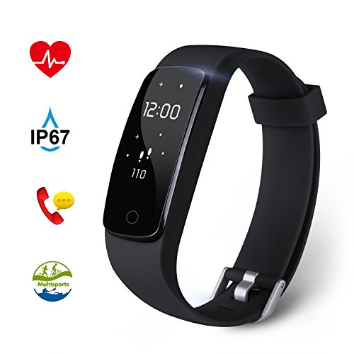 Fitness Tracker Aneken Activity Tracker with Heart Rate Monitor IP67 Bluetooth Smart Bracelet with Sleep Monitor Smart Watch for Android iOS Smartphone - Black
