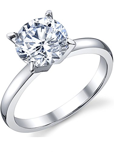 2 Carat Round Brilliant Cubic Zirconia CZ Sterling Silver 925 Wedding Engagement Ring Size 5 (Style Solitare Ring)