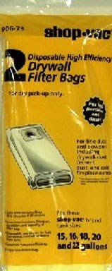Shop Vac 906-73 Dry Wall Collection Bag For 16-25 Gallon - 2 Bags per Package