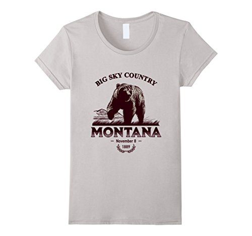 Womens Montana State T Shirt   Big Sky Country Large Silver