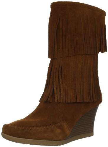 Minnetonka Women's Calf Hi Double Fringe Boot,Brown,10 M US