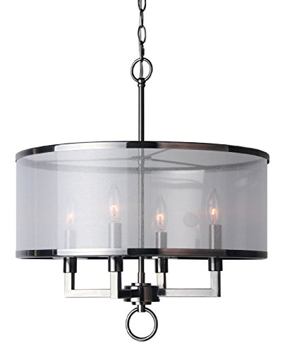 (Woodbridge Lighting 15514ATN Jamison 4-Light Organza Shade Pendant Chandelier)