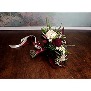Green Deep Wine Burgundy Preserved Wedding Bouquet 40