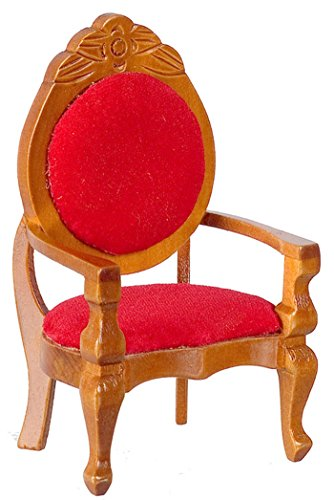 Dollhouse Miniature Vintage Look Red Velvet Mirrorback Cherry Wood Arm (Cherry Game Chair)