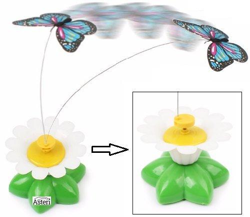 Kätzchen Spielzeug Interaktives Dangling Fluttering Butterfly Stahl Draht Blume die natürlichen Instinkte Basis, Teaser Play Zauberstab, Übung stimulieren Chase Spiel hilft zu entwickeln zu Chase und Hunt.