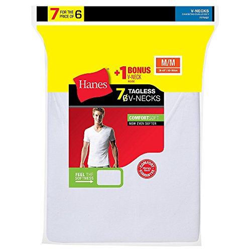 Hanes ComfortSoft TAGLESS Men's V-Neck Undershirt 7-Pack  Wh