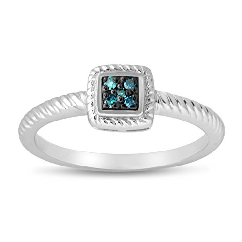Rope Design Ring - Sterling Silver Blue Diamond Rope Design Ring (8)