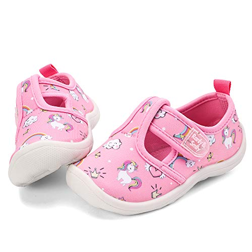 nerteo Toddler Shoes Sandals Girls Cute Aqua Water Shoes for Beach/Camp/Pool Swim Pink/White/Unicorn US 11 Little Kid