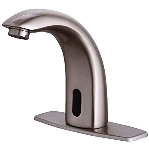 Fyeer Automatic Sensor Touchless Bathroom Sink Faucet with Hole Cover Deck Plate, Nickel Brush Finish, - Deck Mounted Electronic Faucet