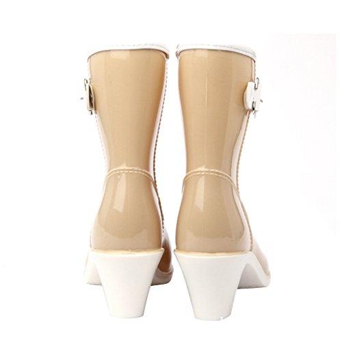 Estimadas Botas De Lluvia Time Mujer Buckle High Heels Beige