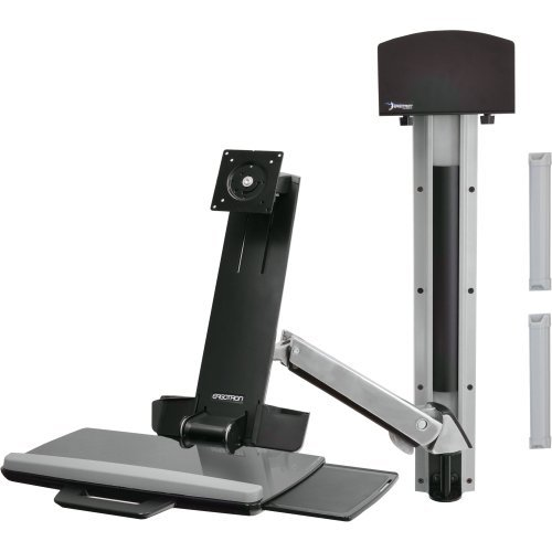 Ergotron, Styleview Sit-Stand Combo Arm Mounting Kit ( Articulating Arm, Wall Track Mount ) For Lcd Display / Keyboard / Mouse / Bar Code Scanner ( Lift And Pivot ) Plastic, Aluminum Screen Size: Up To 24'' Mounting Interface: 100 X 100 Mm, 75 X 75 Mm ''Pro by Original Equipment Manufacture