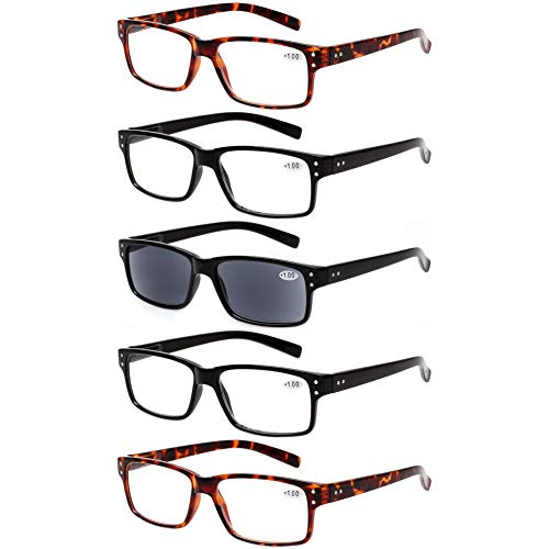 Reading Glasses 5 Pairs Quality Readers Spring Hinge Glasses for Reading for Men and Women (2 Black 2 Tortoise 1sun, 1.00)