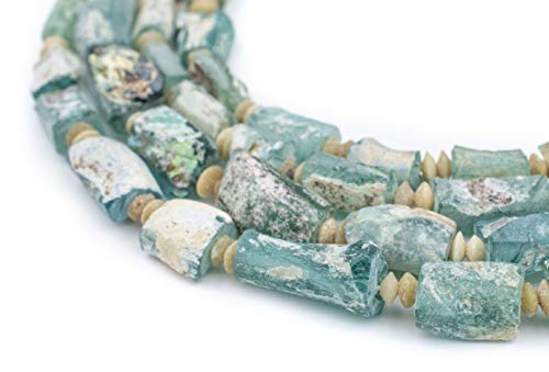 (Rectangular Roman Glass Beads, 100% Authentic and Genuine Ancient Glass, Made in Afghanistan, Matte Glass Beads for Jewelry Making, The Bead Chest)