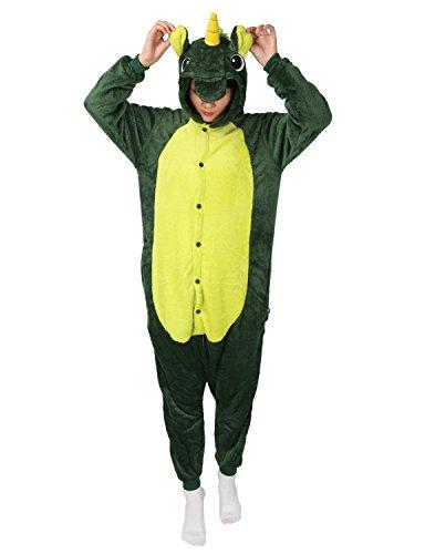 Cute Christmas Party Costumes Ideas (Unicorn Onesie Animal Pajamas Adult Sleepwear Kigurumi Cosplay Halloween Costume (S (Height 151-160 CM), Green))