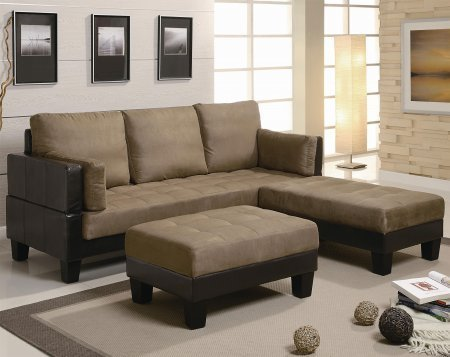 Coaster 300160 82″ Fulton Contemporary Sofa Bed Group with 2 Large Ottomans Vinyl Base with Microfiber Top and Back in Two-Tone Brown & Tan