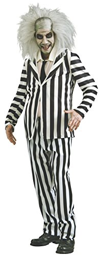 Beetlejuice Costume, Black/White, X-Large -