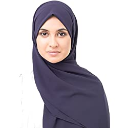 InEssence Velvet Purple Poly Georgette Scarf Women Girls Wrap Medium Size Hijab
