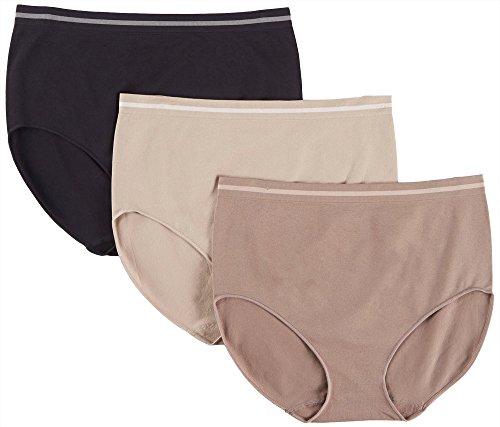 Ellen Tracy Women's 3 Pack Seamless Tipping Full Brief Panty, Mink, Mocha, Black, Medium