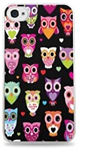 Cute Owl Pattern - Lots of Owls- White Silicone Case for iPhone 4 / 4S -434