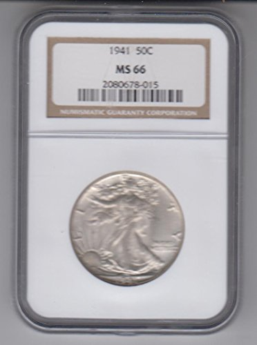 1941 Walking Liberty Half Dollar Coin Choice Uncirculated Half Dollar MS66 NGC