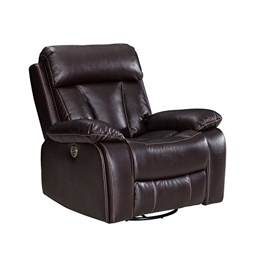 Power Recliner Sofa With USB Charging Port, Adjustable Headrest Deluxe Living Room Electric Lounge Chair- Durable Tufted Air Leather, Comfortable,Easy to Clean - 1 Seat, Brown