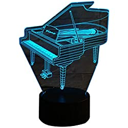 3D Optical Illusion Night Light - 7 LED Color Changing Lamp - Cool Soft Light Safe For Kids - Solution For Nightmares - Piano Music Instrument