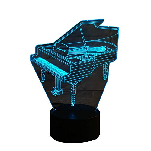 3D Optical Illusion Night Light - 7 LED Color Changing Lamp - Cool Soft Light Safe For Kids - Solution For Nightmares - Piano Music Instrument (Great Players Piano)