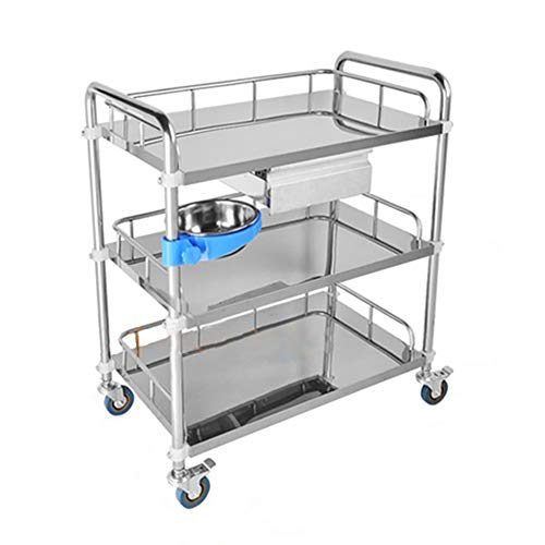 Utility Carts Medical Trolley 2 Layers Stainless Steel Beauty Salon Cart with Single Drawers Surgical Cart, 3 Layers Rescue Vehicle Instrument Change Vehicles (Color : 3-Tier, Size : 60×40×86cm) ()